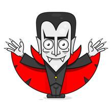 Vampire Character. Funny Vector Illustration. Cute Cartoon Scary Funny Character. Happy Halloween.