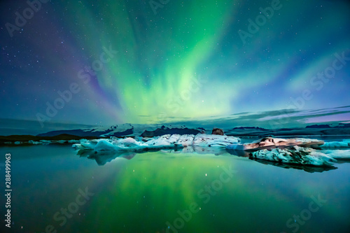 Photo Stands Green blue Northern Lights In Iceland