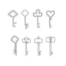 Keys Continuous Line Drawing Set, Tattoo, Logo Design And Print For Clothes, Key Silhouette One Single Line On A White Background, Isolated Vector Illustration.