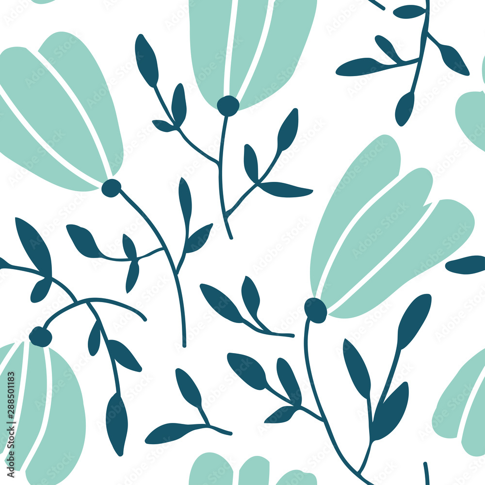 Seamless pattern with colorful hand drawn flowers