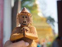 Carved Monkey At On Temple