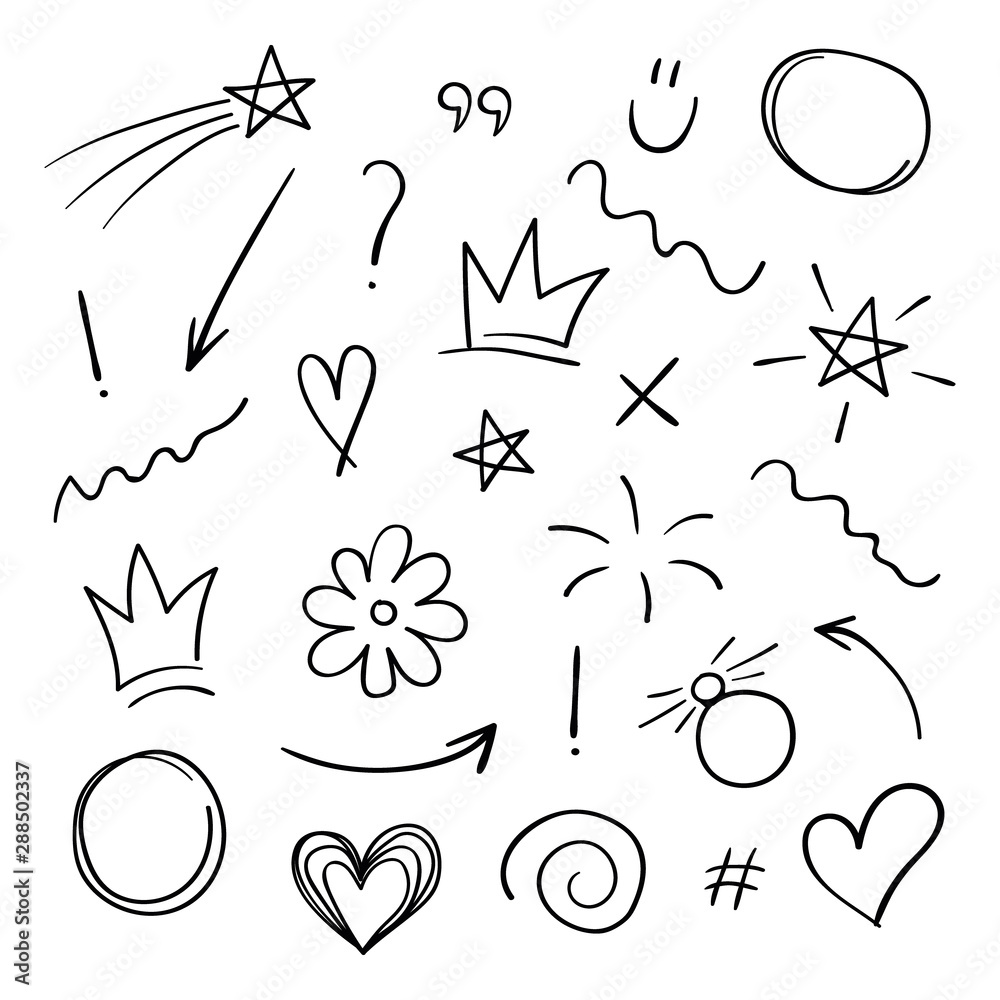 Fototapeta Super set different hand drawn element. Collection of arrows, crowns, circles, doodles on white background. Signs for design. Line art