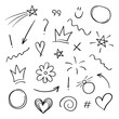 Super set different hand drawn element. Collection of arrows, crowns, circles, doodles on white background. Signs for design. Line art