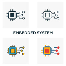 Embedded System Icon Set. Four Elements In Diferent Styles From Industry 4.0 Icons Collection. Creative Embedded System Icons Filled, Outline, Colored And Flat Symbols