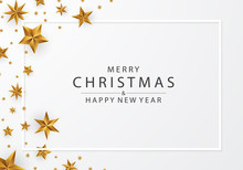 Merry Christmas And Happy New Year Gold Star Background Vector Illustration