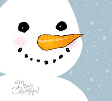 Greeting Card With Cute Smiling Snowman