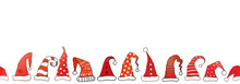 Horizontal Seamless Pattern With Red Santa Hats On White Background..