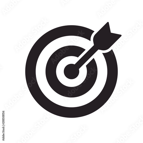 Vector icon goal. Arrows that successfully hit a target. Canvas Print