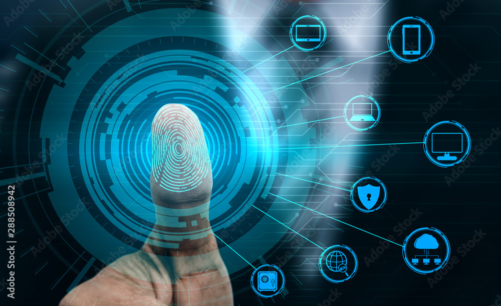 Fototapeta Fingerprint Biometric Digital Scan Technology. Graphic interface showing man finger with print scanning identification. Concept of digital security and private data access by use fingerprint scanner.