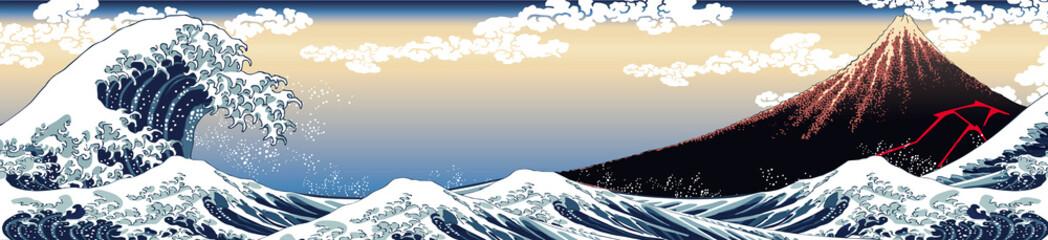 Fototapeta Japoński 神奈川沖浪裏&山下白雨 ロングバージョン