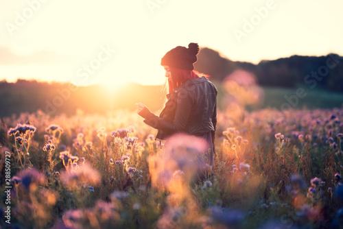 Fotografie, Tablou  Junge Frau im gegenlichtigen Phacelia Blumenfeld