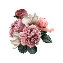 Floral Arrangement, Bouquet Of Garden Flowers. Pink Peonies, Green Leaves, White Roses, Iris Isolated On White Background. Can Be Used For Your Projects, Wedding Invitations, Greeting Cards.