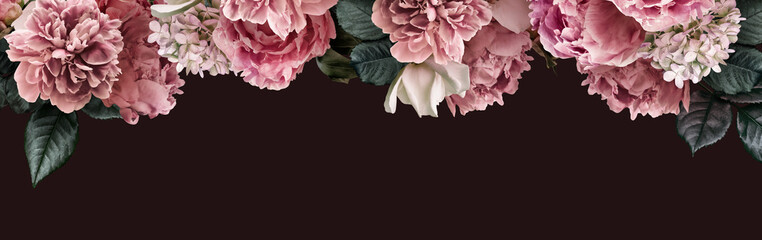 FototapetaFloral banner, flower cover or header with vintage bouquets. Pink peonies, white roses, hydrangea isolated on black background.