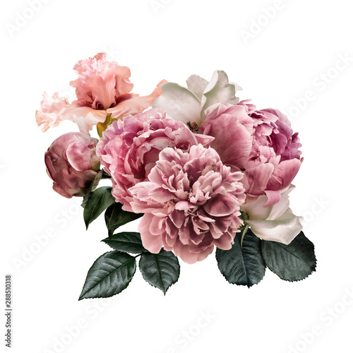 Obraz na plátně Floral arrangement, bouquet of garden flowers