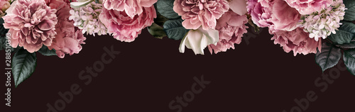 Poster de jardin Hortensia Floral banner, flower cover or header with vintage bouquets. Pink peonies, white roses, hydrangea isolated on black background.
