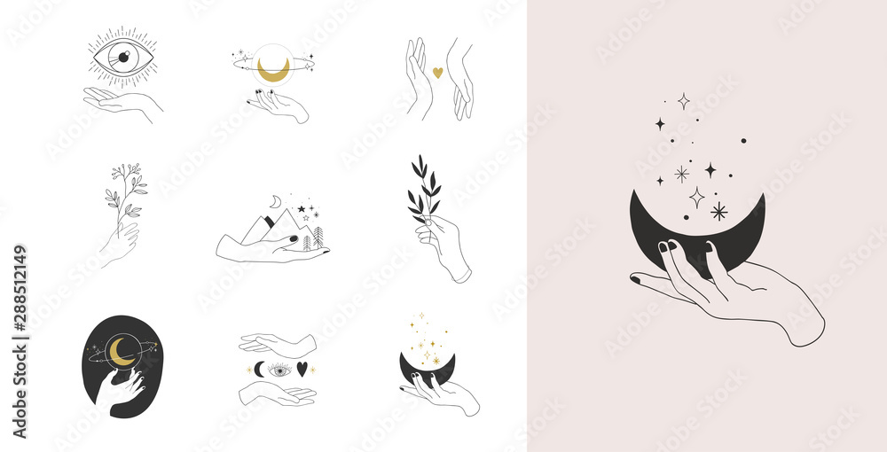 Fototapeta Collection of fine, hand drawn style logos and icons of hands. Fashion, skin care and wedding concept illustrations.