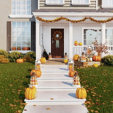 Porch Of The House, Decorated For Halloween. The Decor Is Made Of Pumpkins, Candlesticks, Dry Leaves And Candles. 3d Render
