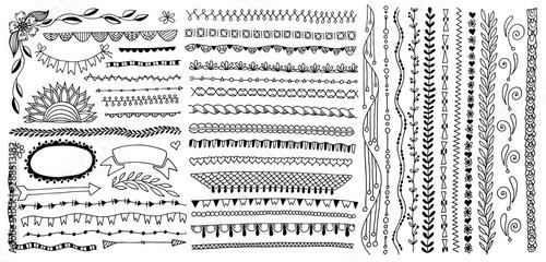 Foto hand drawing sketch simple doodle borders, edge lines