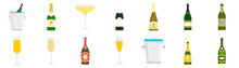 Champagne Icon Set. Flat Set Of Champagne Vector Icons For Web Design