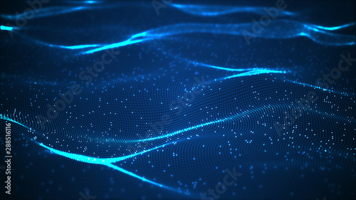 La pose en embrasure Fractal waves Technology digital wave background concept.