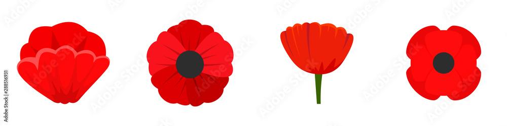 Fototapeta Poppy flowers icon set. Flat set of poppy flowers vector icons for web design
