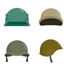 Army Helmet Icon Set. Flat Set Of Army Helmet Vector Icons For Web Design