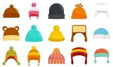 Winter Headwear Icon Set. Flat...