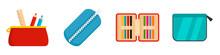 Pencil Case Icon Set. Flat Set Of Pencil Case Vector Icons For Web Design