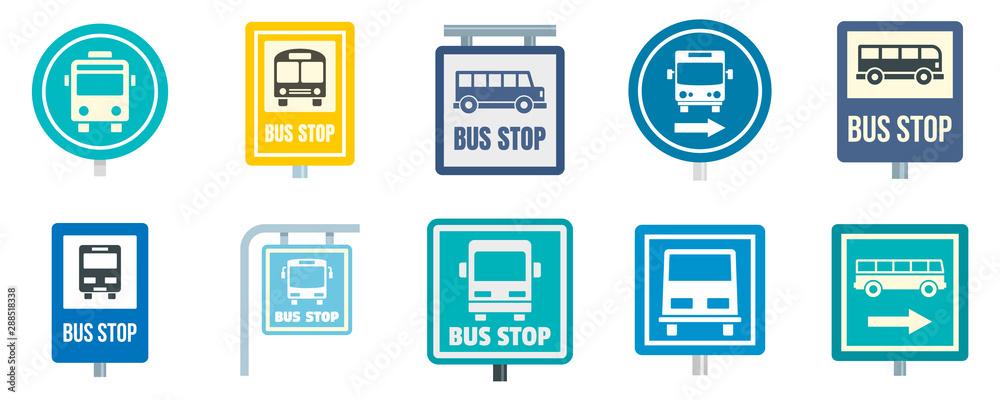 Fototapeta Bus stop icon set. Flat set of bus stop vector icons for web design