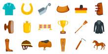 Horseback Riding Icon Set. Flat Set Of Horseback Riding Vector Icons For Web Design