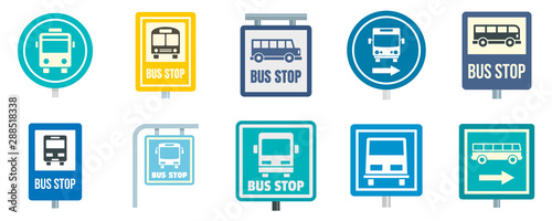 Fototapety, obrazy: Bus stop icon set. Flat set of bus stop vector icons for web design