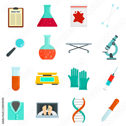 Fototapeta  Forensic laboratory icons set