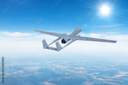 Unmanned aerial vehicle drone in flight gaining climbing altitude for the mission Wallpaper Mural