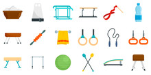 Gymnastics Equipment Icons Set...