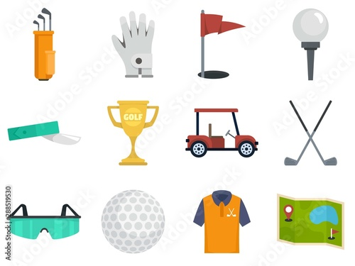 Canvas Print Golf icons set. Flat set of golf vector icons for web design