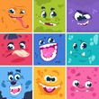 Monsters faces. Cute cartoon characters with different funny expressions, comic happy and scary monsters. Vector square illustration monster mask set for comics or avatars