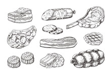 Meat Steak. Vintage Food Sketc...