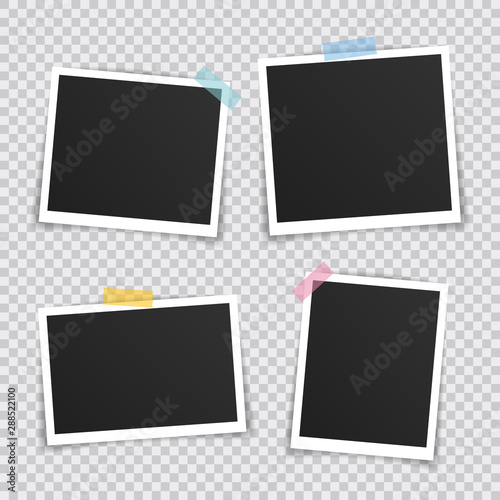 Vector Photo frame mockup design. Super set photo frame on sticky tape isolated on transparent background. Vector illustration Wall mural
