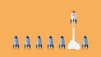 Startup project concept with rocket launch. Vector illustration.