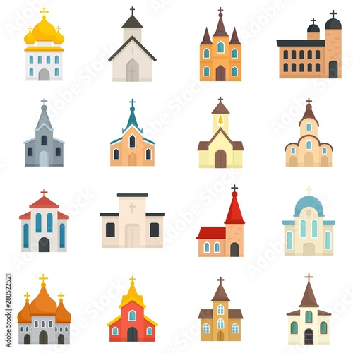 Church icons set. Flat set of church vector icons for web design - 288522521
