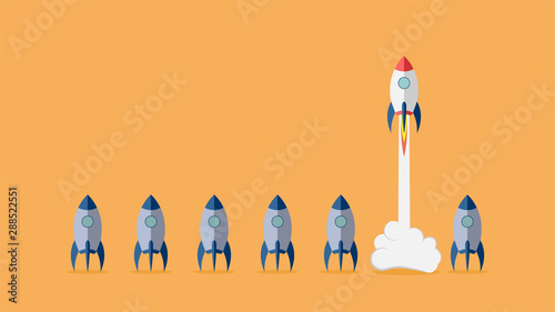 Fototapeta Startup project concept with rocket launch. Vector illustration.