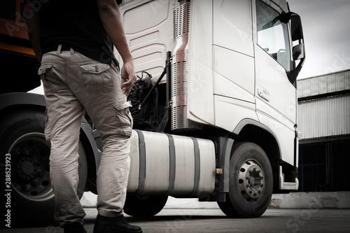 Obraz na plátně  truck driver with white semi truck