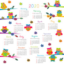2020 Calendar With Cartoon Owls