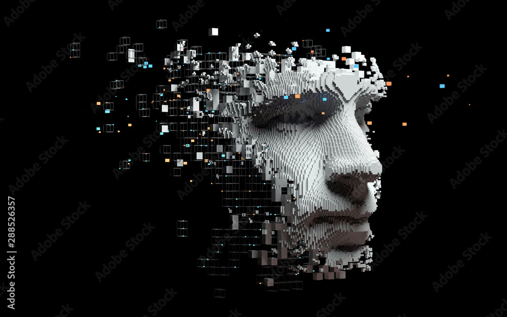 Fototapeta Abstract digital human face.  Artificial intelligence concept of big data or cyber security. 3D illustration