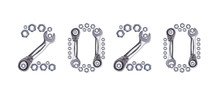 Pattern Of Metal Nuts For Bolts, Numbers 2020 New Year, Isolate On A White Background. Spare Parts For Fastenings Designs, Christmas Card Holiday Greetings. Ratchet Wrench.