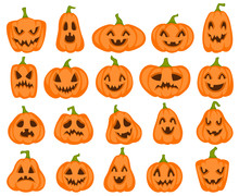 Halloween Pumpkins. Orange Pumpkin With Jack Lantern Characters. Spooky And Angry Carved Faces For Autumn Holiday Greeting Card Vector Set