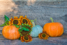 Beautiful Autumn Composition: Three Ripe Orange Pumpkins And Sunflowers On The Old Wooden Background With Copy Space