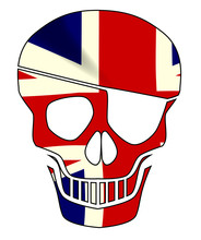 Union Jack Skull Silhouette With Eye Patch