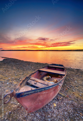Canvas Prints Crimson Beautiful summer sunset over water