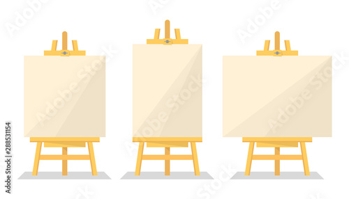 Wooden easel set vector isolated. Blank paper board Canvas Print